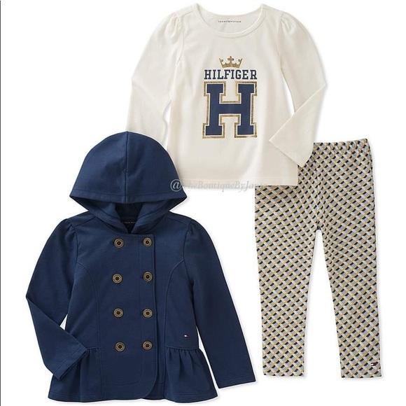 Tommy Hilfiger Navy Ruffle Hooded Jacket Set